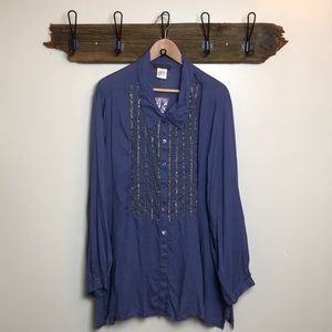 Ulla Popken Tunic Beaded Blue/Gray Color NWOT